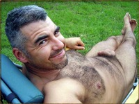 nude hairy man outside trying keep cool those hot days