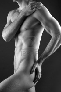 nude muscular black men young muscular nude man over black background photo
