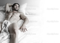 nude muscular males depositphotos sexy hunk bed stock photo