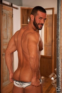ripped gay sex lucaskazan sexy spanish muscle hunk denis vega hairy chest spaniard real muscled man huge erect dick tanned dark hair ripped six pack abs gay porn star video gallery photo latin men naked