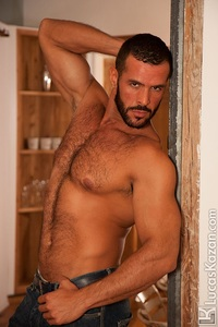 sexiest gay porn actor lucaskazan sexy spanish muscle hunk denis vega hairy chest spaniard real muscled man huge erect dick tanned dark hair ripped six pack abs gay porn star video gallery photo free lucas kazan swarthy chested