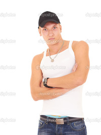 sexy muscular black men depositphotos muscular man white tank blue jeans black cap stock photo