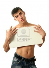 sexy pics man wrangel young sexy man copy space blank billboard isolated white photo