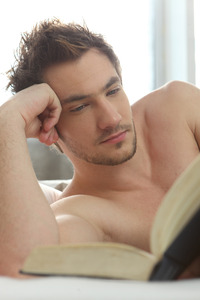 sexy pics man man reading bed side sexy
